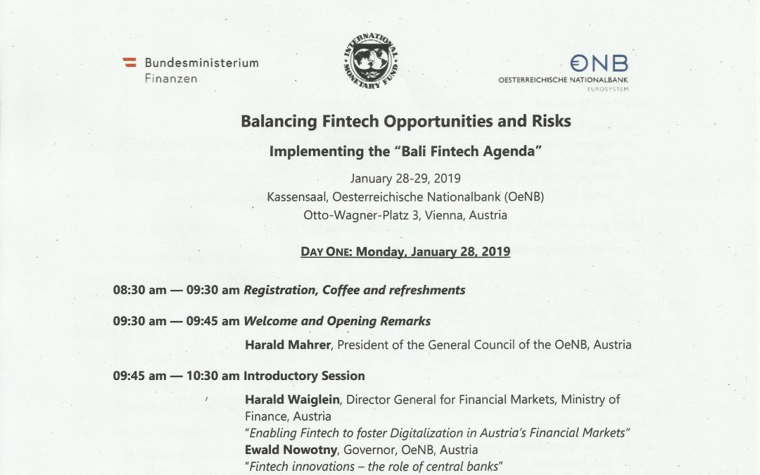 A.R.T.-Blog Nr. 2: Summary of 3 Opening Speeches at the Vienna Fintech Conference, 28./29. Jan. 2019, OeNB / JVI